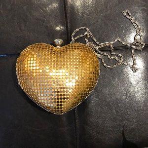 Gold heart sequin clutch bag